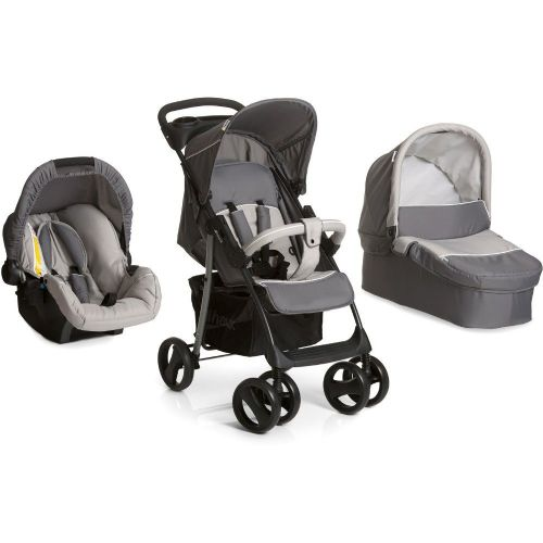 New Hauck shopper SLX Trio Travel System pushchair Carrycot Carseat Stone/Grey+RAINCOVER